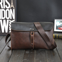 Leather Men Messenger Bags Vintage Famous Brand Business Casual Man Bag Small Simple
