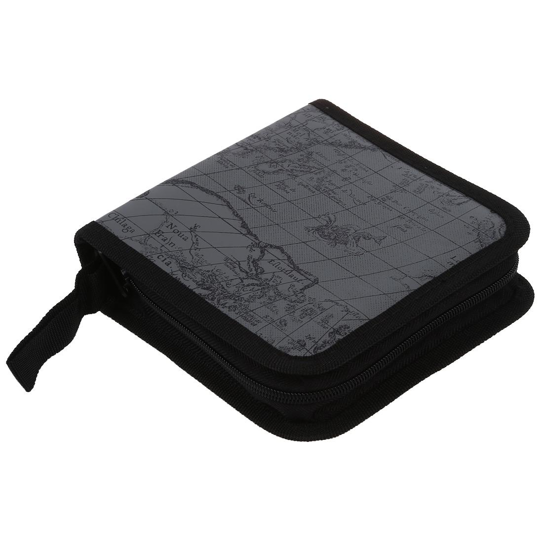 40 Disc Fashion Map CD DVD Storage Holder Sleeve Case Box Wallet Bag Album Zipper - grey