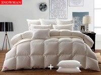 Tröster SCHNEEMANN Natürliche Weiße gänsedaunen Bettwäsche Super Flauschige 100% Ägyptischer Baumwolle, KÖNIGIN, mit ZWEI GÄNSEFEDERN KISSEN