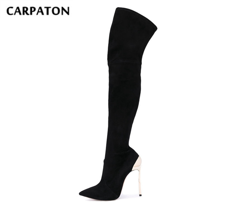 цена на Carpaton Spring Newest Pointed Toe High Heel Boots Sexy Over the Knee Boots for Woman 2018 Stretch Fabric Thigh High Boots