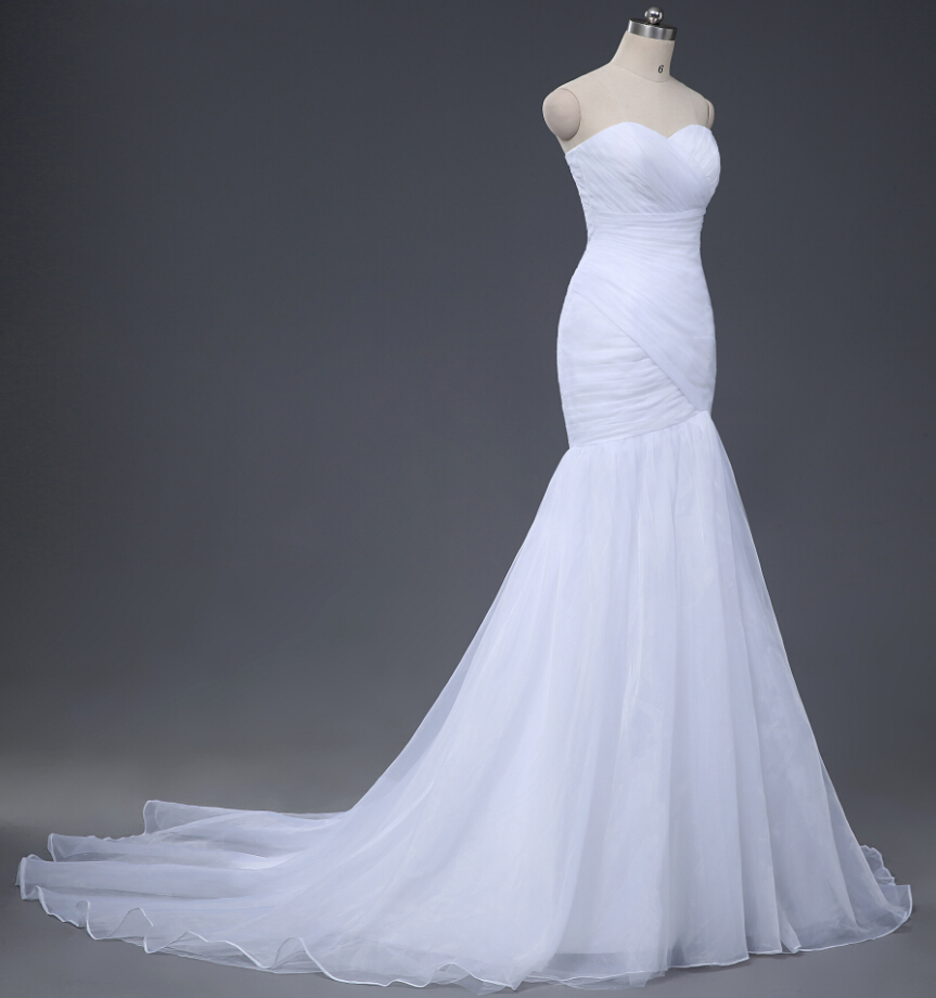 Image 3 - NOBLE WEISS In Stock Sweetheart Pleated Organza Trumpet Mermaid Lace up Back Wedding Dress Bridal Gown Free Shipping 0921-in Wedding Dresses from Weddings & Events