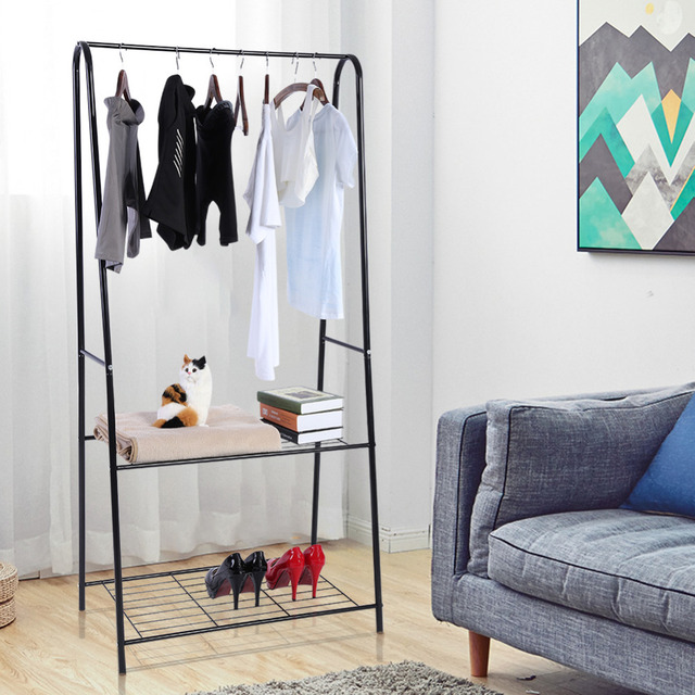 Superieur 2 Tier Metal Shoes Shelves Rail Clothes Rack Bedroom Hat Stand Organizer  Hanging Storage Clothes