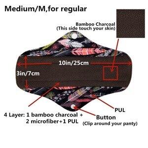 Image 3 - [Sigzagor]S M L XL Cloth Menstrual Pad Sanitary Bamboo Charcoal Reusable Washable Panty Liner Regular Overnight