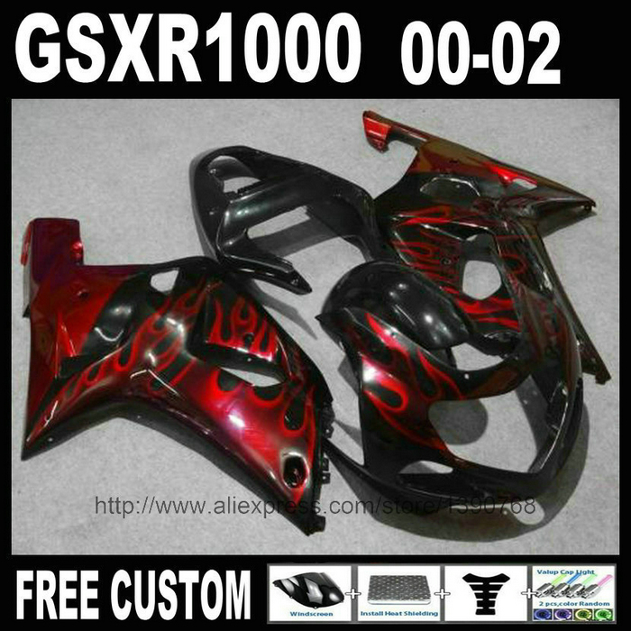 High quality fairing kit for SUZUKI 2000 2001 2002 GSXR 1000 red flames in black Injection mold fairings set 00 01 02 K2 GSXR100 high quality electric cooker plastic injection mold