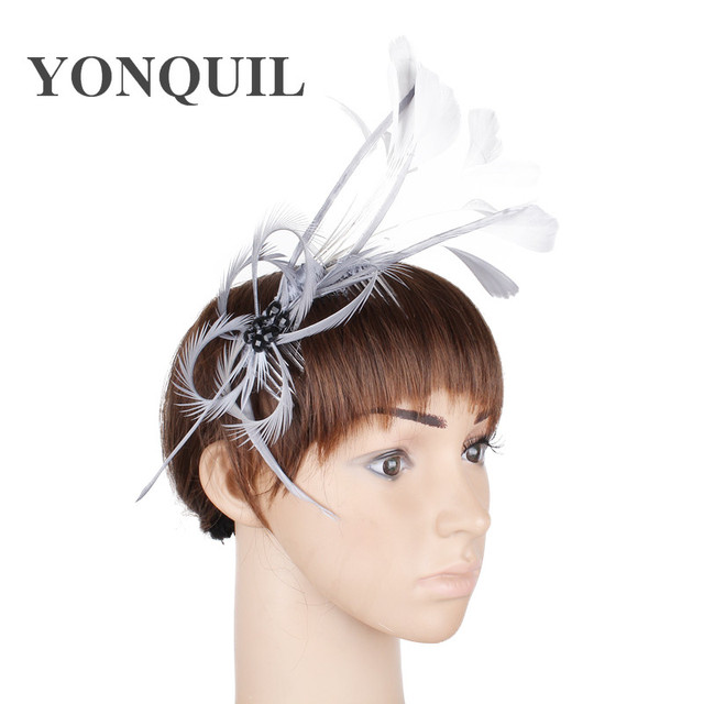 Elegante dei capelli della piuma pettini carino come da sposa fascinator  headwear del partito acconciatura occasione 7daacb562c3c