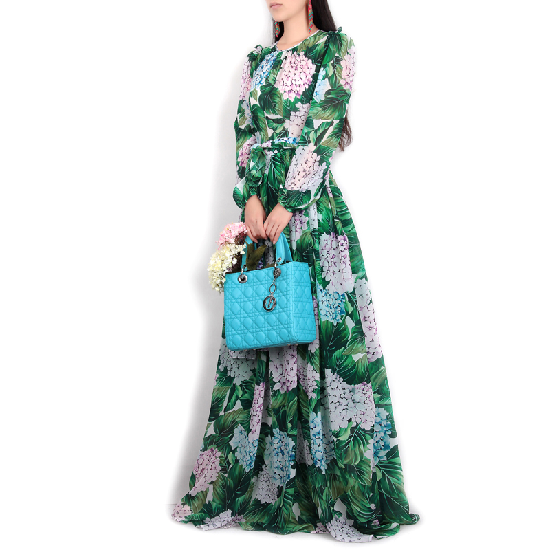 High Quality New Women's Flowers Green Leaves Printed Maxi Casual Long Dress