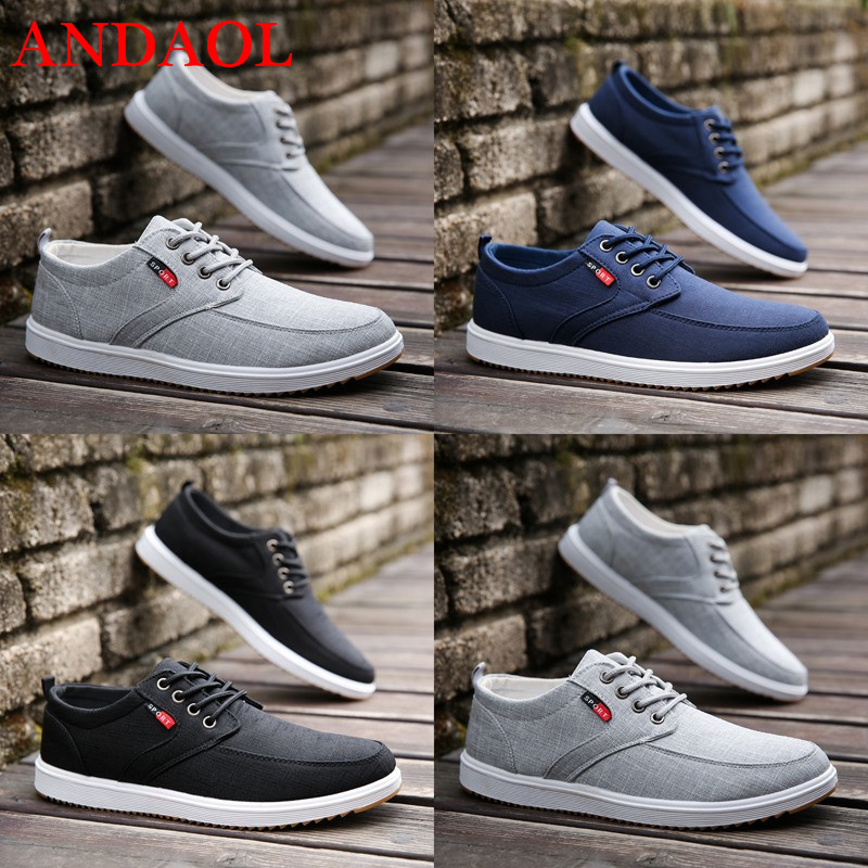 ANDAOL Men 39 s Casual Shoes Top Quality Breathable Solid Lace Up Cotton Fabric Sneakers Luxury Trend Non Slip Campus Skateboarding in Men 39 s Casual Shoes from Shoes