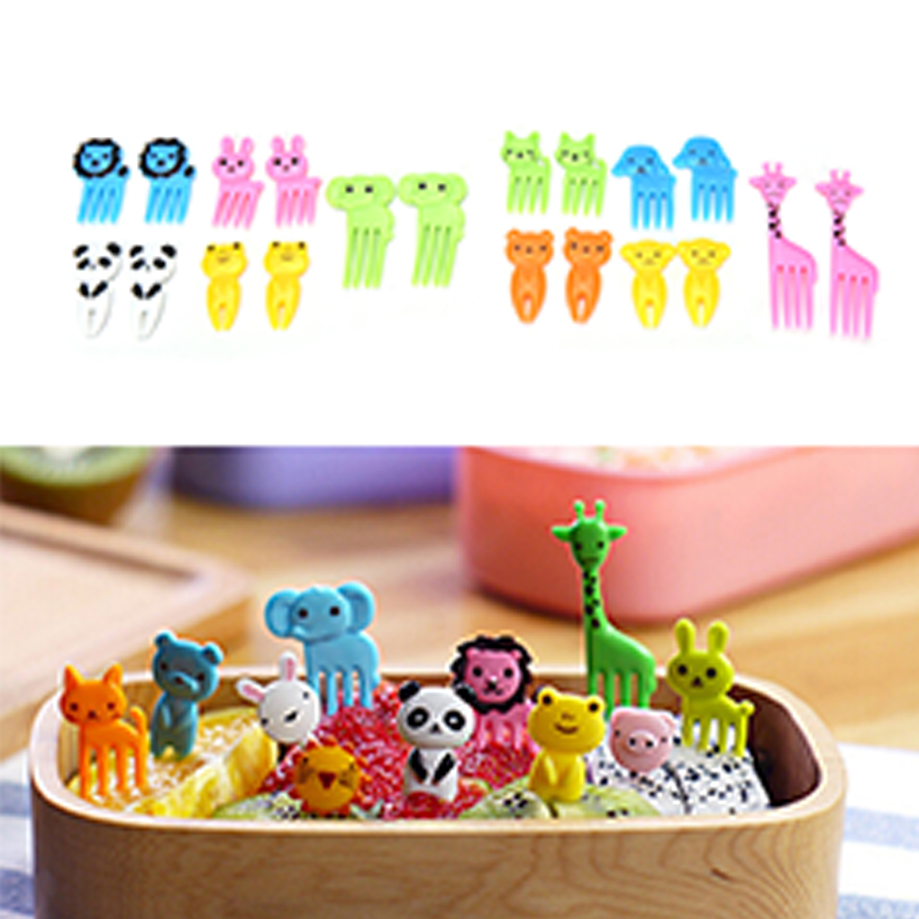 2019 10pcs/Set Animal Fruit Fork Mini Cartoon Children Snack Cake Dessert Food Fruit Pick Toothpick Lunches Decor Random Color