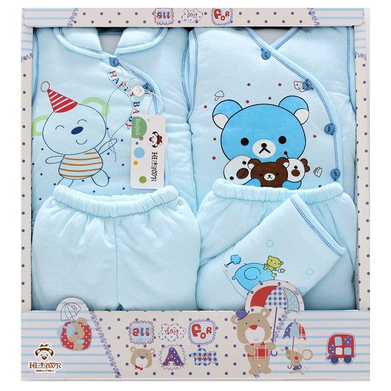 4 Pcs/Lot 2019 nouveau-né bébé fille vêtements automne mignon ours cadeau boîte ensemble épais coton caractère bébé garçon vêtements