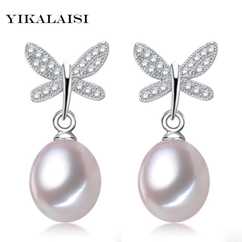 YIKALAISI 2017 NEW Pearl Jewelry Earrings For Women 925 sterling silver Jewelry Beautiful Butterfly Diamante Earrings Wedding