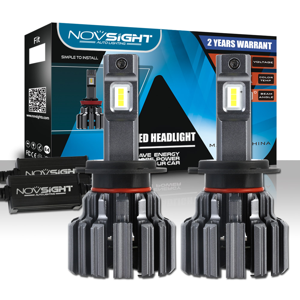 NOVSIGHT H7 Car LED Headlight Bulbs 90W 15000LM Single Beam Automobile Headlamp Lights 6000K 12V for Audi BMW VOLVO