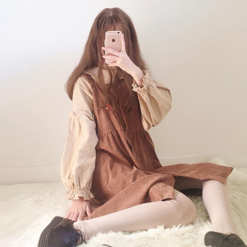 2018 Spring 2 Pcs Suit Women s Korean Student Peter Pan Collar Long Sleeve Shirt Long