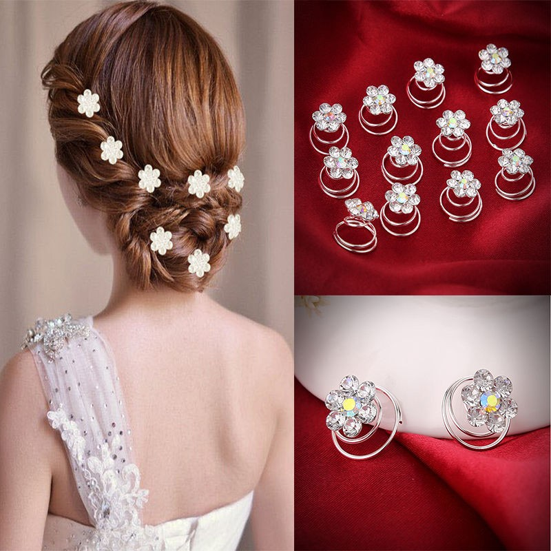 Wedding Hairstyles With Hair Jewelry: 12Pcs Crystal Rhinestone Flower Bridal Wedding Hair Pins