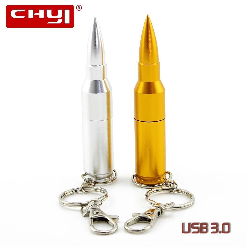 CHYI Cool Metal Bullet USB3.0 Flash Drive Pen Drivers 8GB 16GB 32GB 64GB Pendrive U Disk With Key Ring Memory Stick For Gift