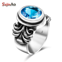 Szjinao London Blue Topaz Rings Gothic Handmade Genuine 925 Sterling Silver Luxury Fine Costume Jewelry Accessories For Women