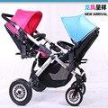 2 cores de Luxo de Alumínio dobrável carrinho de bebê gêmeo two-way dobrável carrinho de bebê carrinho de rodas infláveis