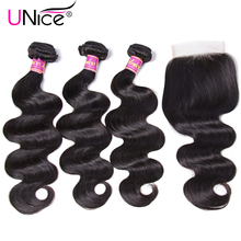 UNICE HAIR Malaysian Body Wave 3 Bundles with Closure Remy Human-Hair-Bundles-With-Closure 4PCS Natural Hair Weave Lace Closure(China)
