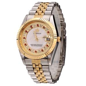 Image 3 - Original New 2020 REGINALD Quartz Watch Men 18k Yellow Gold Fluted Bezel Pearl Diamond Dial Full Stainless Steel Luminous Clock