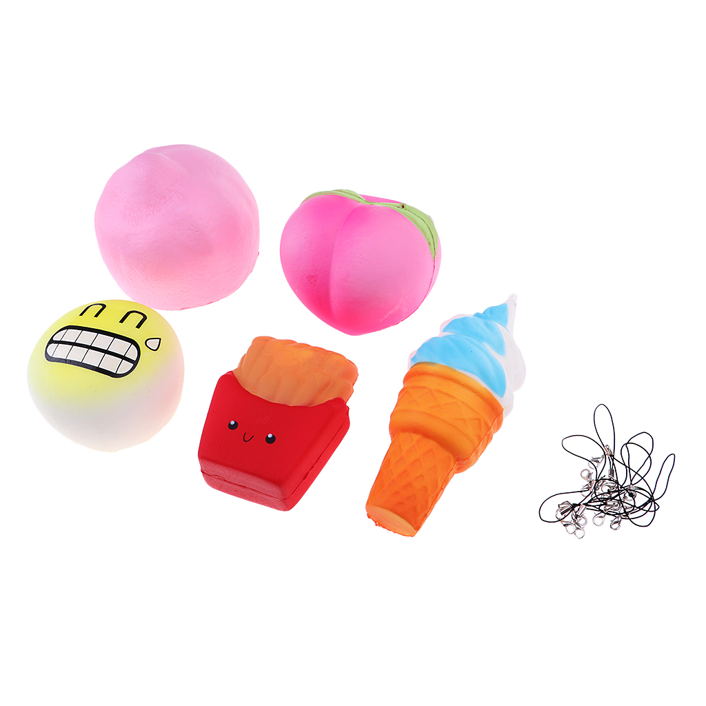 5Pcs Jumbo Squishies Peach Lemon Ice Cream Cone Bun French Fries Slow Rising Squeeze Kawaii Scented Stress Relief Toys