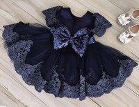 紺レースチュールフラワーガールのドレス赤ちゃん最初の誕生日膝丈子供ページェントウエディングパーティーイブニングガウンでスパンコール弓