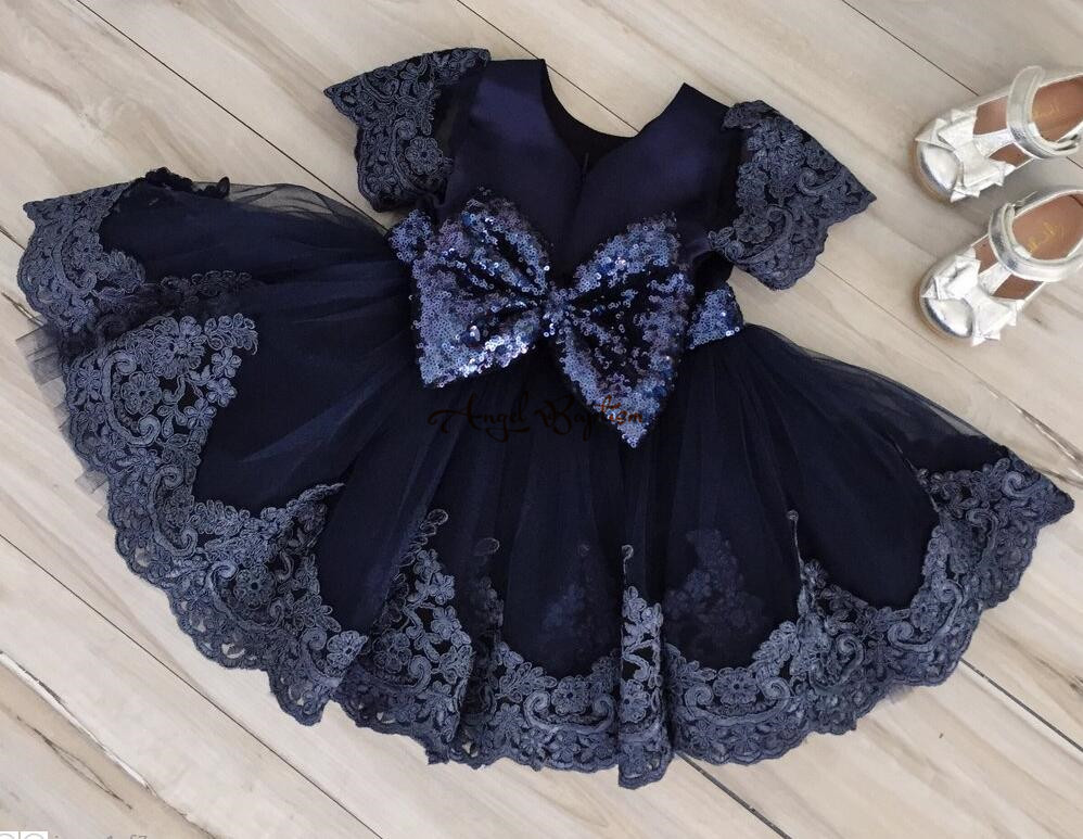 Navy blue lace tulle Flower Girl Dresses baby first Birthday knee length kid pageant prom party evening gown with sequin bow lilac tulle open back flower girl dresses with white lace and bow silver sequins kid tutu dress baby birthday party prom gown