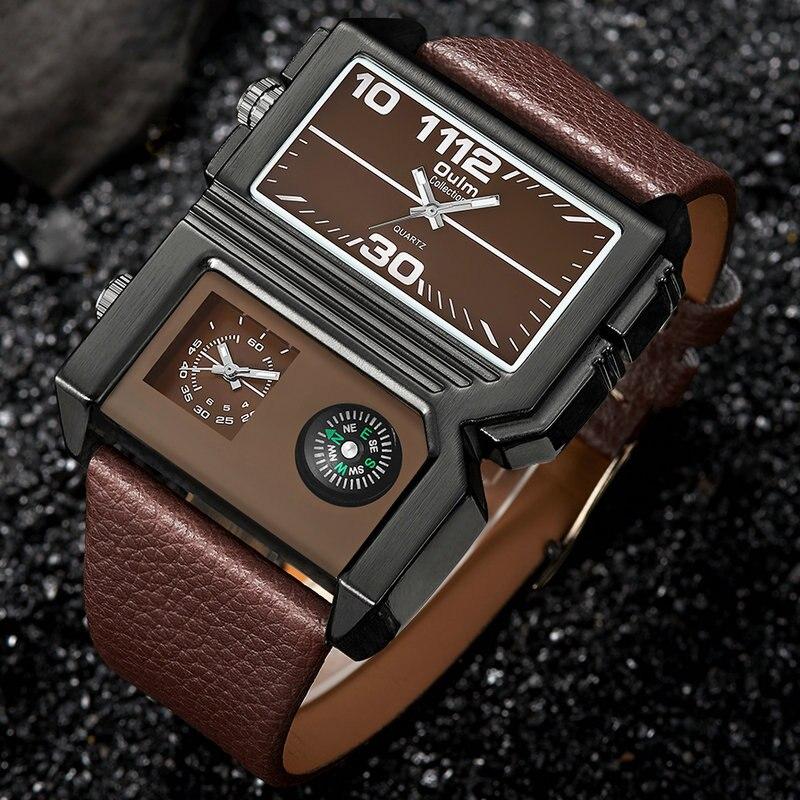 OULM Oversize Fashion Quartz Watch Men 2 Time Zones Rectangle Dial Top Brand Luxury Casual Creative Wrist Watches Analog Clock стоимость