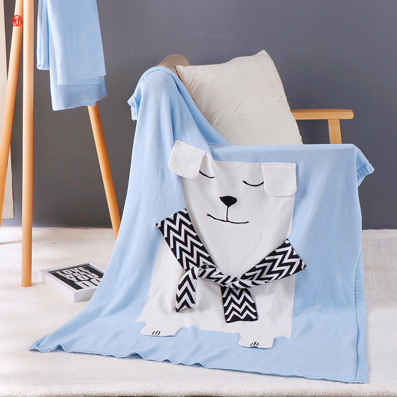 Home textile White Bear With Scarf Blanket Blue Knitted Cartoon Cotton Thread Blankets 110*130cm For Children Bed Home Travel