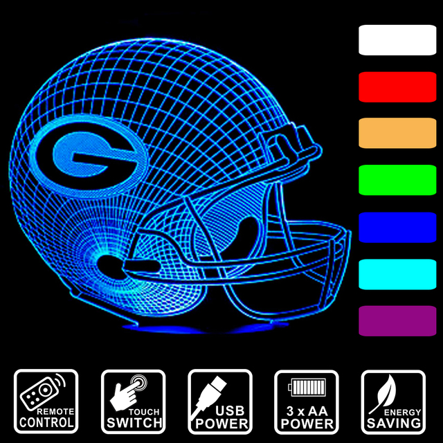 green bay lighting wisconsin baseball cap green bay packers 3d led night light color changing table lamp remote control