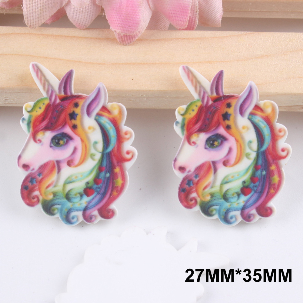 50pcs 27*35MM Cartoon Rainbow Unicorn Resin Flatback Horse Resin Cabochon DIY Craft Embellishments Party Houten Decoratie FR146