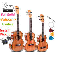 Ukulele 21 24 26 Inches Full Solid Mahogany Mini Electric Soprano Concert Tenor Acoustic Guitar 4 Strings Ukelele High-gloss