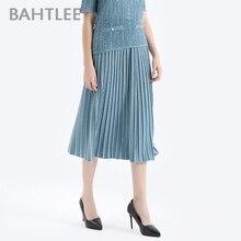 BAHTLEE ラインスタイルゴールデンシルクプリーツスカートウエストバンド スカート女性ミッドカーフジャンパー Knited