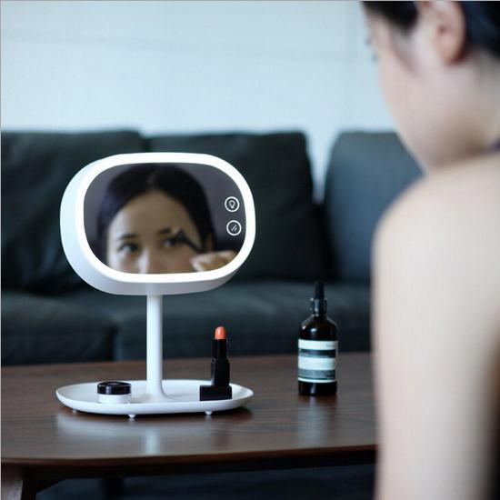 HOT 360 degree turn Led Cosmetic Mirror with Light 1200mah Battery Makeup Mirror Fashon Light Table Stand Mirror make-up mirror 1pc makeup mirror night light storage led light make up cosmetic table lamp with bluetooth speaker hands free for lady gift a187
