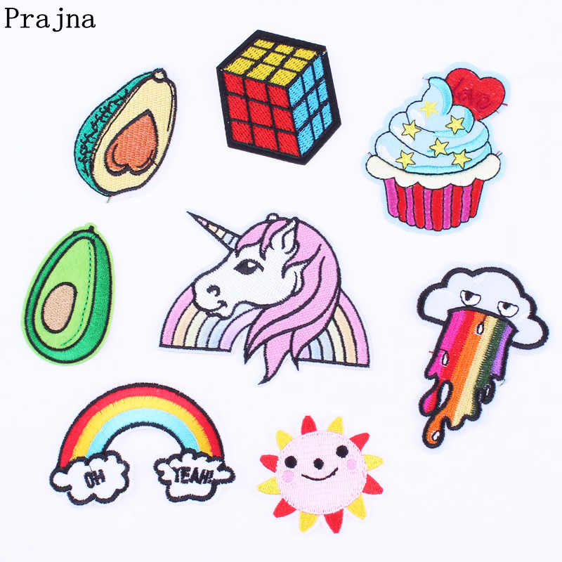 Prajna Unicorn Avocado Patch Sew Stickers Cute Rainbow Embroidery Iron On Patches Sew On Applique For Clothing Sunshine Parches