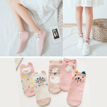 5 Pair/lot Funny Woman Socks Girls Cute Low Cut Short Cotton Ankle Sock Red Heart Printed Cartoon Animals Stereoscopic Ear