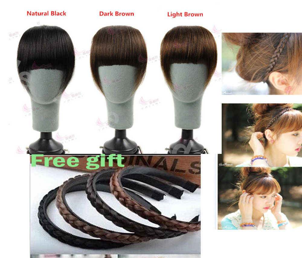 100% remy human hair extension clips in/on side edge long bangs hair 4 colors free shipping