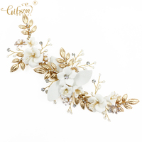 New Hair Accessories Bridal Headpiece Hair Clip Porcelain Flower Pearl Golden Wedding Jewelry Ceremony Headpiece