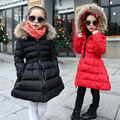 Kids Girls Winter Coat 2016 New Girls Long Jacket Thick Outerwear Girls Parkas Coat Zipper Jacket Kids Winter Clothes Black Red