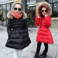 Niños Niñas Abrigo de Invierno 2016 Nuevas Muchachas de la Chaqueta Larga Gruesa Niñas de vestir exteriores Parkas Capa de la Cremallera de la Chaqueta de Invierno Ropa Negro rojo