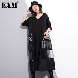 [EAM] 2018 new spring V-collar sleeve black hollow out gauze split joint tassels big size shirt dress women fashion tide JE454