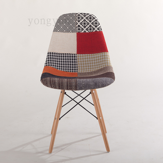 Minimaliste Moderne Manger Chaise Occasionnelle En Plastique Tissu Art Bois Jambe