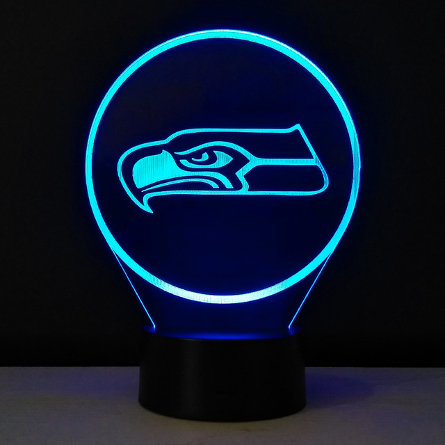Team Logo Seattle Seahawks USB LED Light Colorful Desk Lamp Kids ...