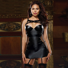 Europe and the United States the new plus-size imitation leather straps tight nightgown leather skirts night club interest suit