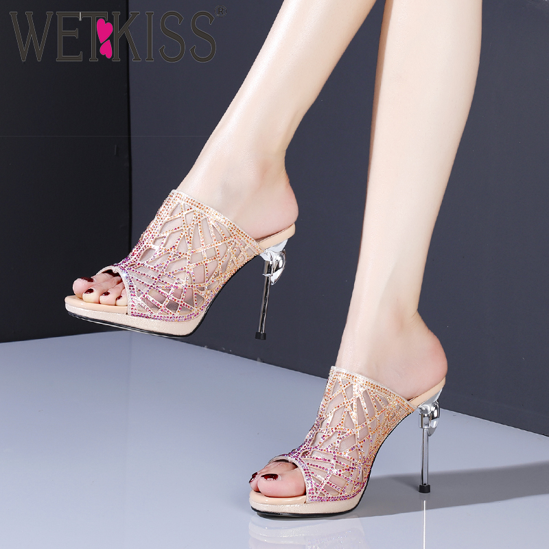 WETKISS Mesh Crystal Slippers Women Summer Platform Slides Shoes High Heels Mules Shoes Female Fashion Party