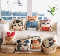 Lovely Cats Character Music Decorative Pillows Cartoon Style Cushion Covers Cotton Linen Square Car Sofa Throw Pillows 45*45CM