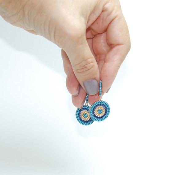 2017 High Quality Beautiful Women Clip Nano Blue Micro Pave Round Charm Earring