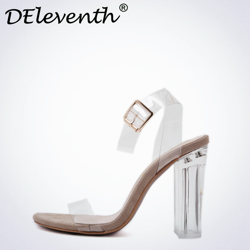 DEleventh Summer 2017 New Branded Name High-heeled Shoes Open Toe Shoes Thick Transparent Crystal Block Catwalk Women Sandals