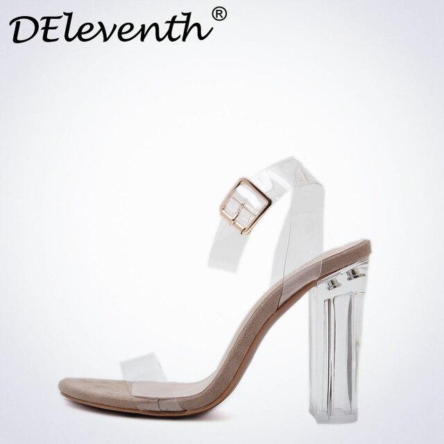 a855c0a0 DEleventh Verano 2017 nuevo nombre de marca zapatos de tacón alto zapatos  de punta abierta gruesa