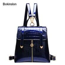 Bokinslon Модные рюкзаки Сумки Повседневное Аллигатор школьная сумка Для женщин Винтаж лакированная кожа Для женщин для рюкзак