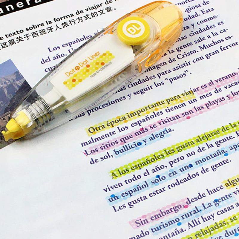 Kawaii High Lighter Liner Press Dot Type Decorative Correction Tape DIy Diary Planner Sticker Office Stationery School Corrector
