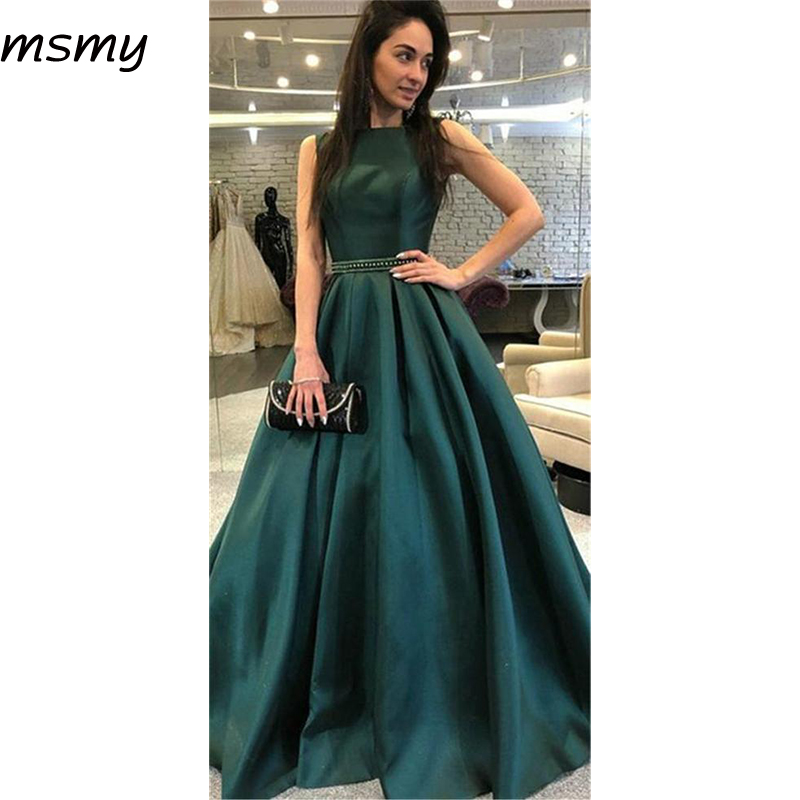 Simple   Evening     Dress   A-Line Formal 2019 Prom Party   Dresses   Backless Sweep Train   Evening   Gown Custom Made Vestido de noite